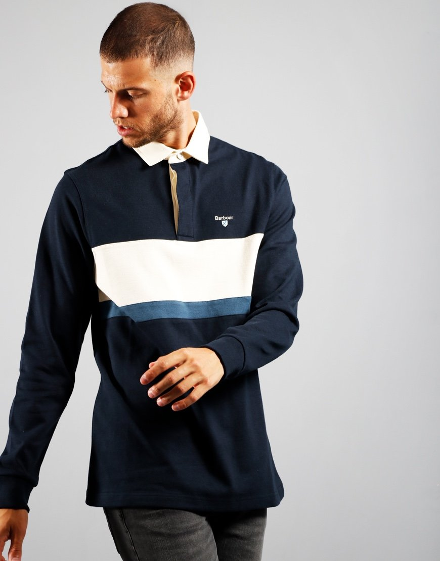 Barbour Weston Rugby Polo Shirt Navy