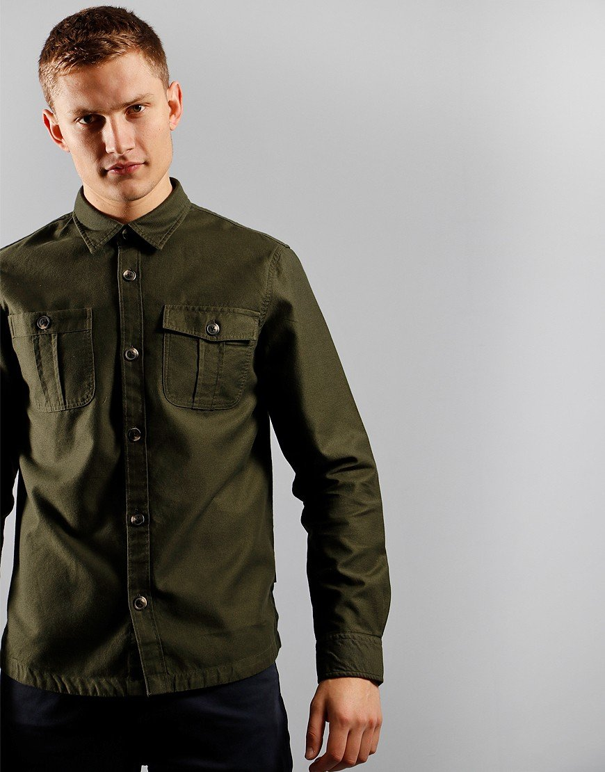 Barbour Wingate Overshirt Bleached Olive