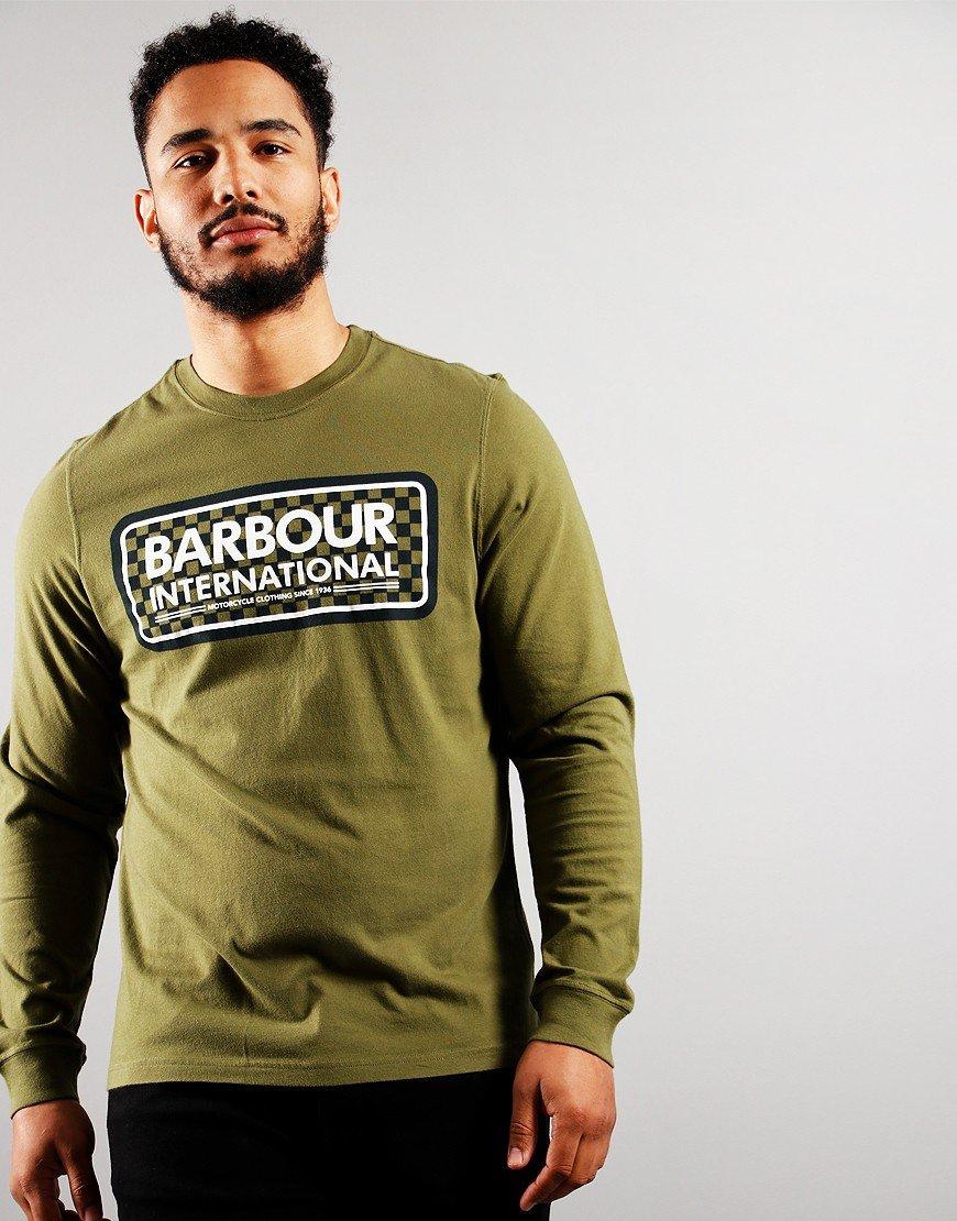 Barbour International Long Sleeved Grid T-shirt Vintage Green