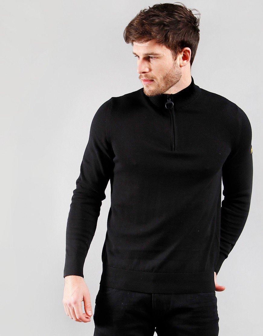Barbour International Cotton Half Zip Knit Black