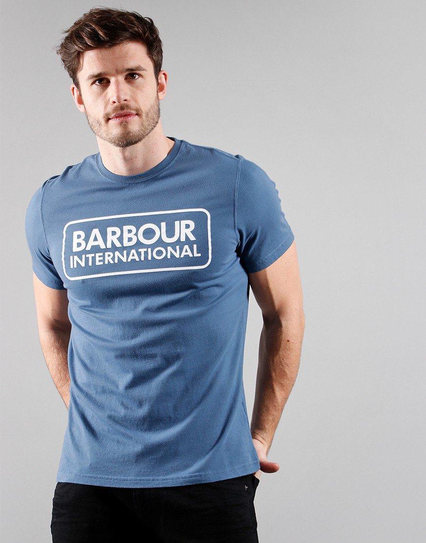 Barbour International Large Logo T-Shirt Mid Blue