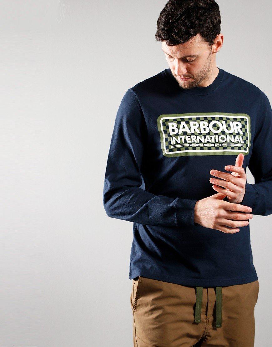 Barbour International Long Sleeved Grid T-shirt Navy