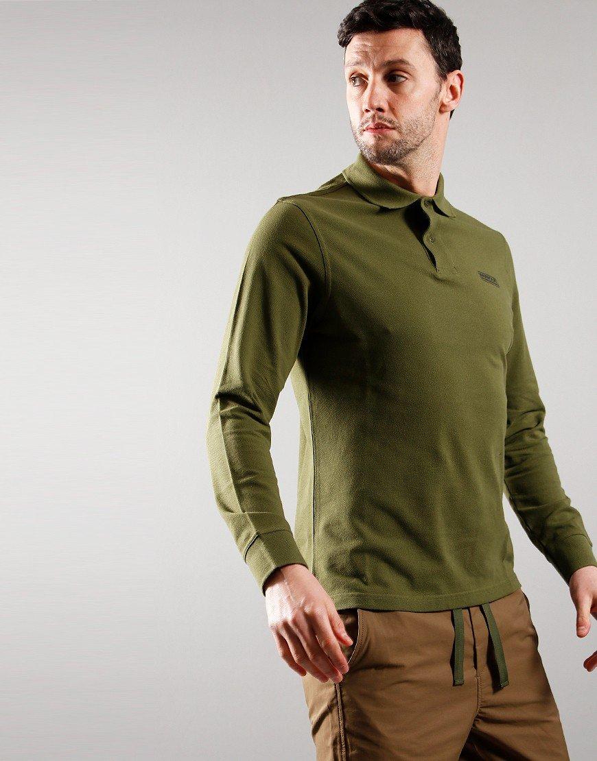 Barbour International Long Sleeve Polo Vintage Green