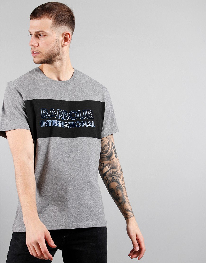 Barbour International Panel Logo Tee Anthracite Marl