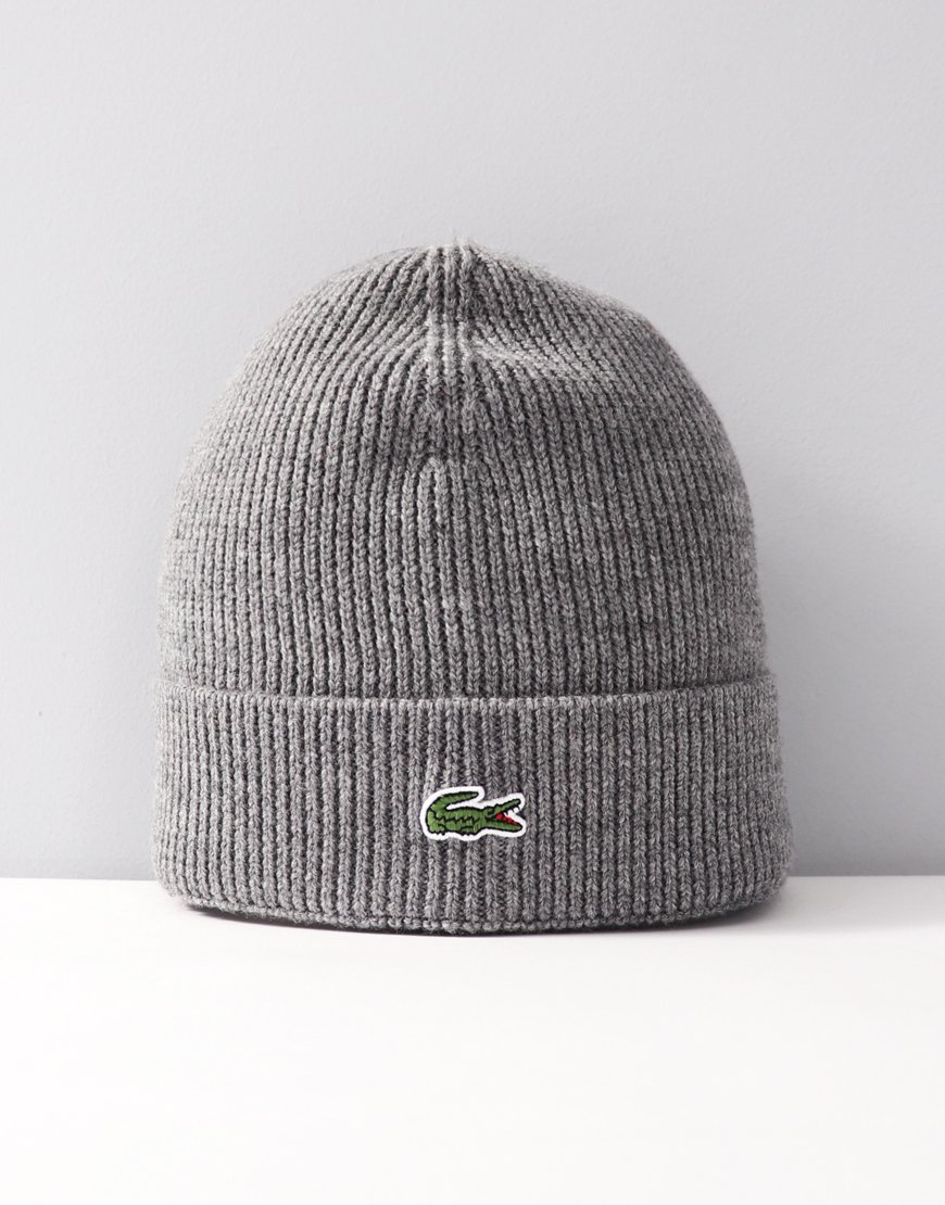 Lacoste Turned Edge Ribbed Wool Beanie Stone Chine