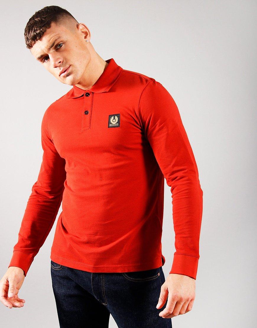Belstaff Long Sleeve Essentials Polo Shirt Red Ochre