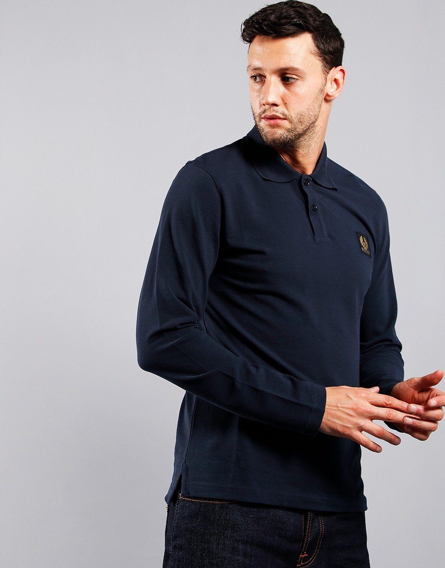 Belstaff Long Sleeve Polo Shirt Navy