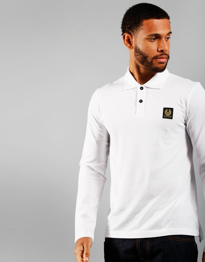 Belstaff Long Sleeve Polo Shirt White