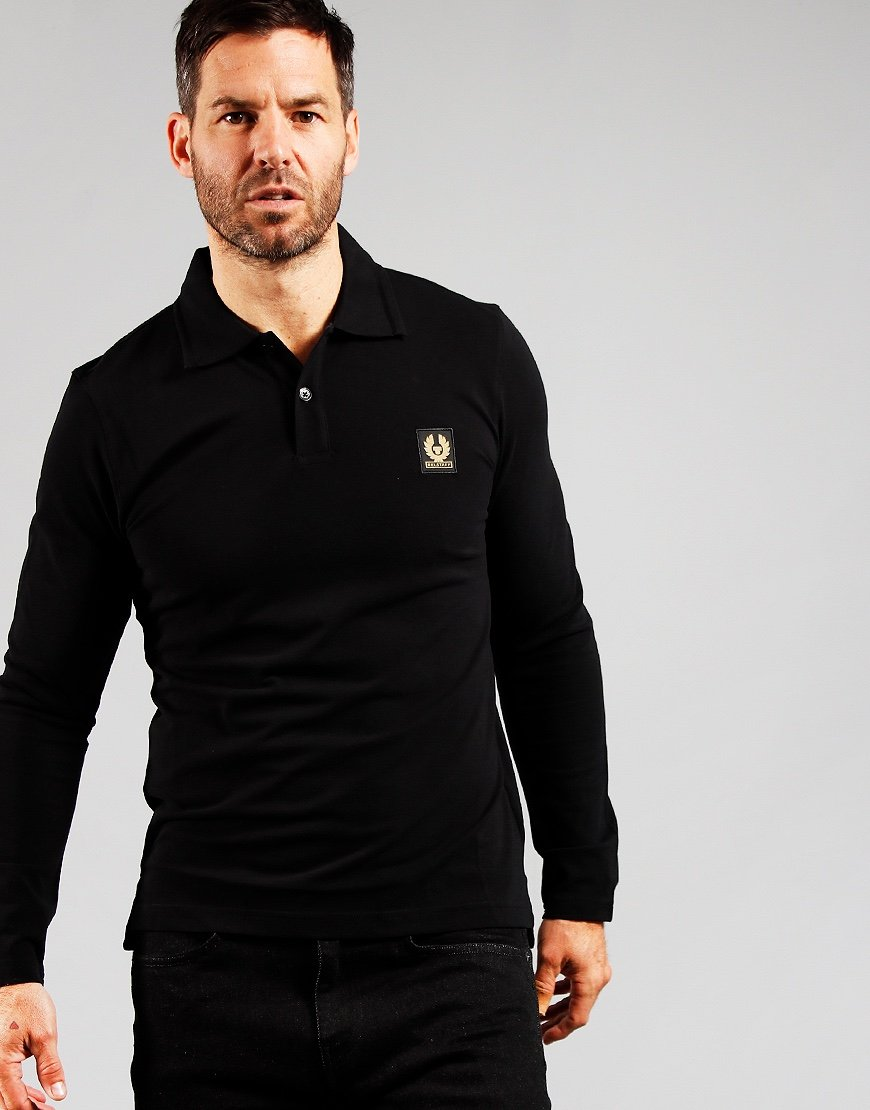Belstaff Long Sleeve Polo Shirt Black