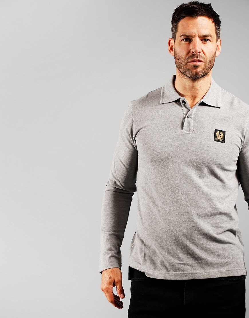 Belstaff Long Sleeve Polo Shirt Grey Melange
