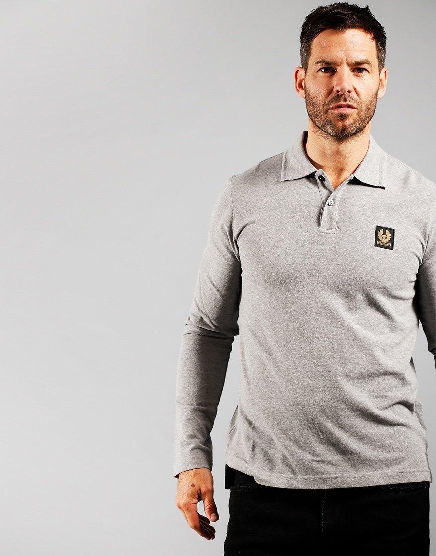 Belstaff Long Sleeve Essentials Polo Shirt Grey Melange