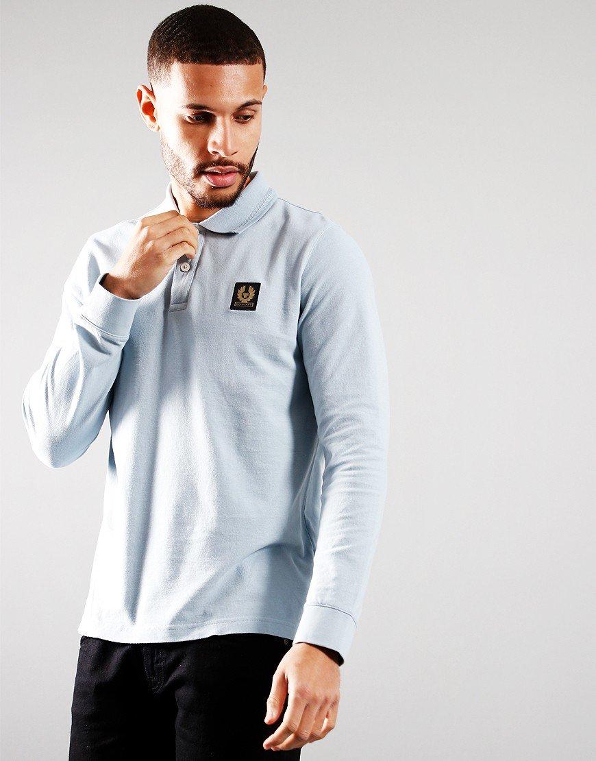 Belstaff Long Sleeve Essentials Polo Shirt Chalk Blue