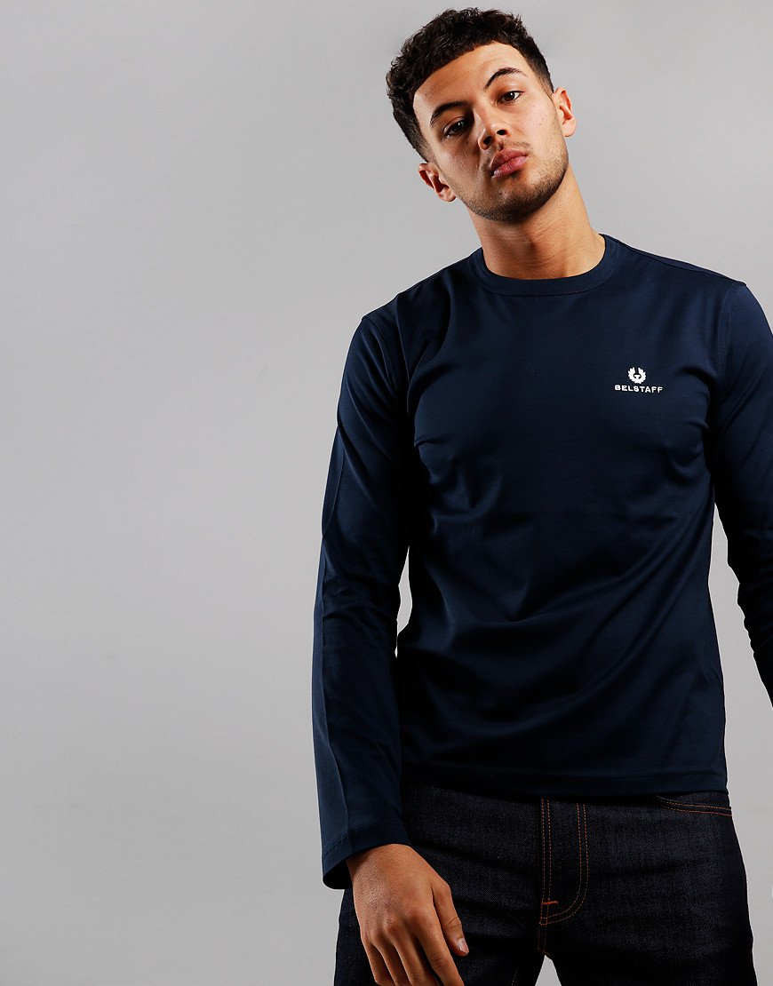 Belstaff Embroidered Long Sleeve T-Shirt Navy