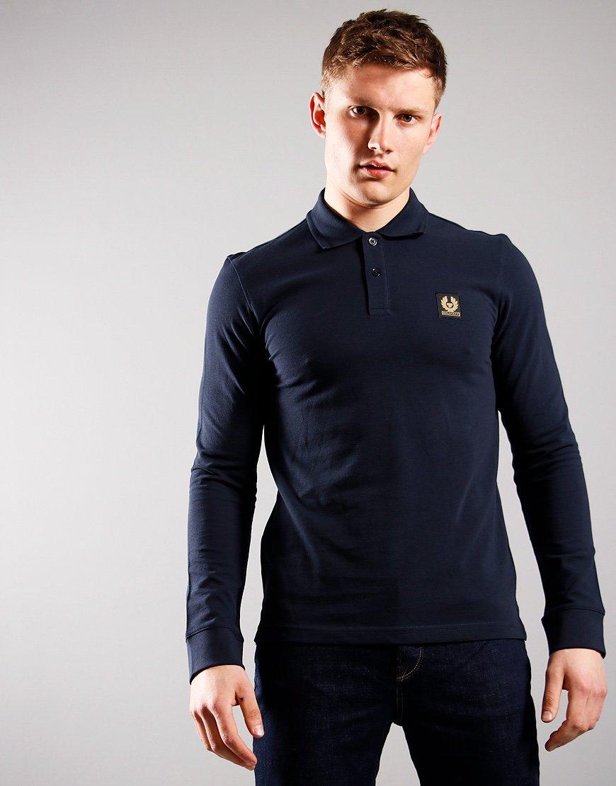 Belstaff Long Sleeved Essentials Polo Shirt Dark Ink