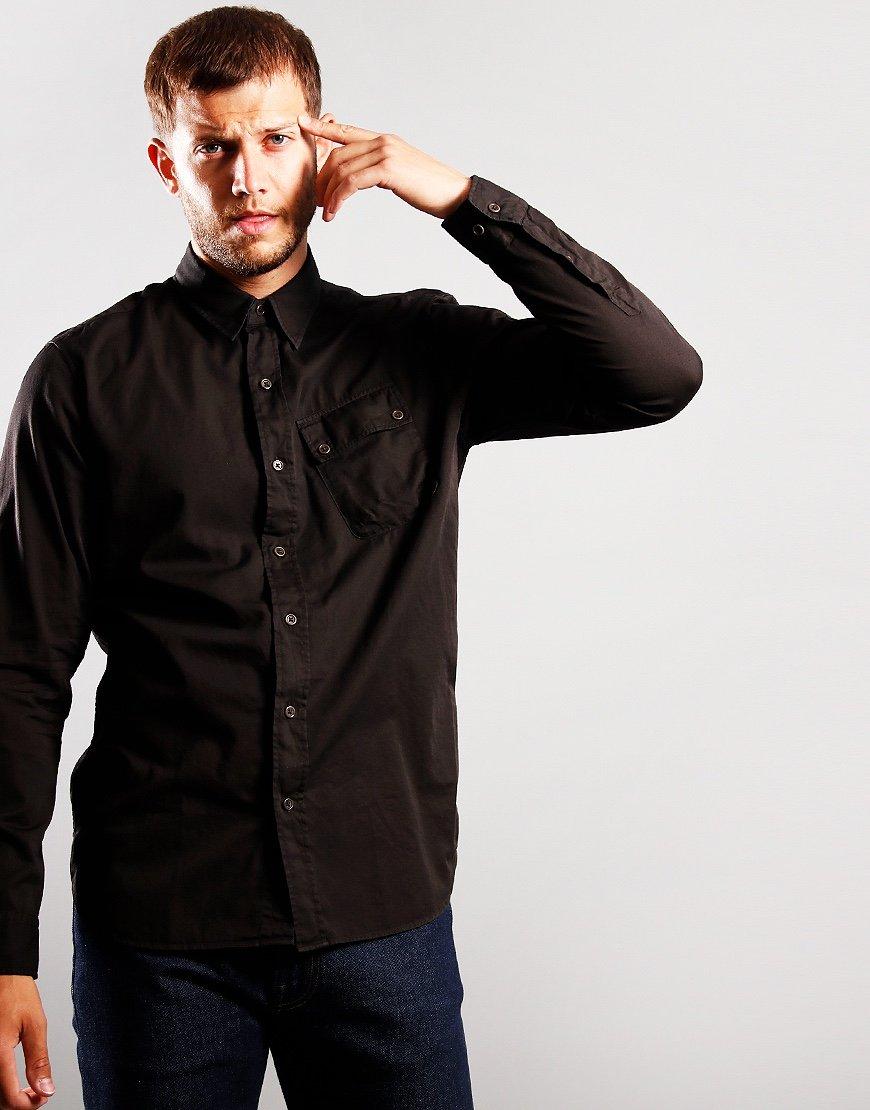 Belstaff Pitch Twill Long Sleeve Shirt Black