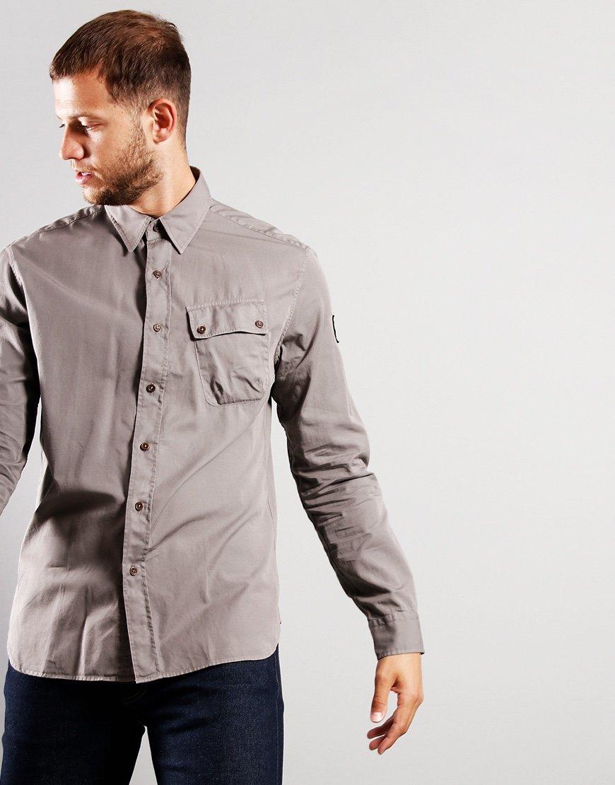 Belstaff Pitch Twill Long Sleeve Shirt Granite Grey