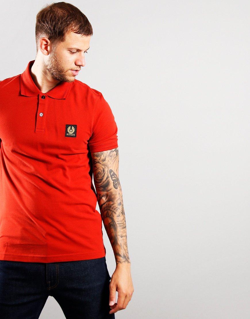 Belstaff Short Sleeve Polo Red Ochre