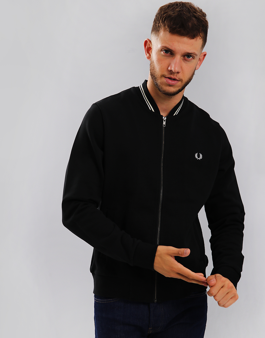 Fred Perry Zip Through Bomber Sweat Black