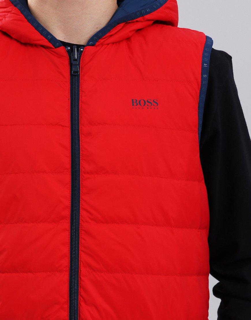 432a65972 BOSS Kids J26360 Reversible Down Gilet Red - Terraces Menswear