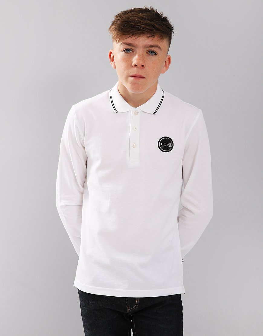 BOSS Kids Long Sleeve Polo Shirt White