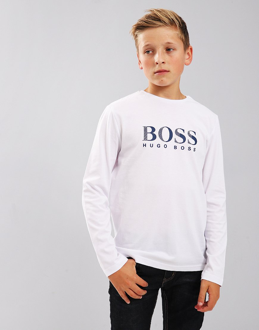 BOSS Kids Long Sleeve Print T-Shirt White