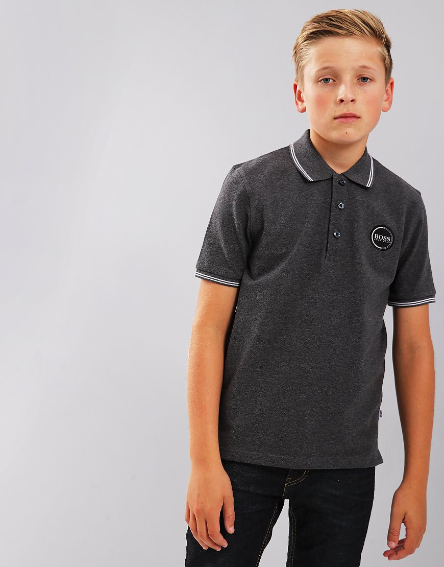 BOSS Kids Polo Shirt Charcoal Marl