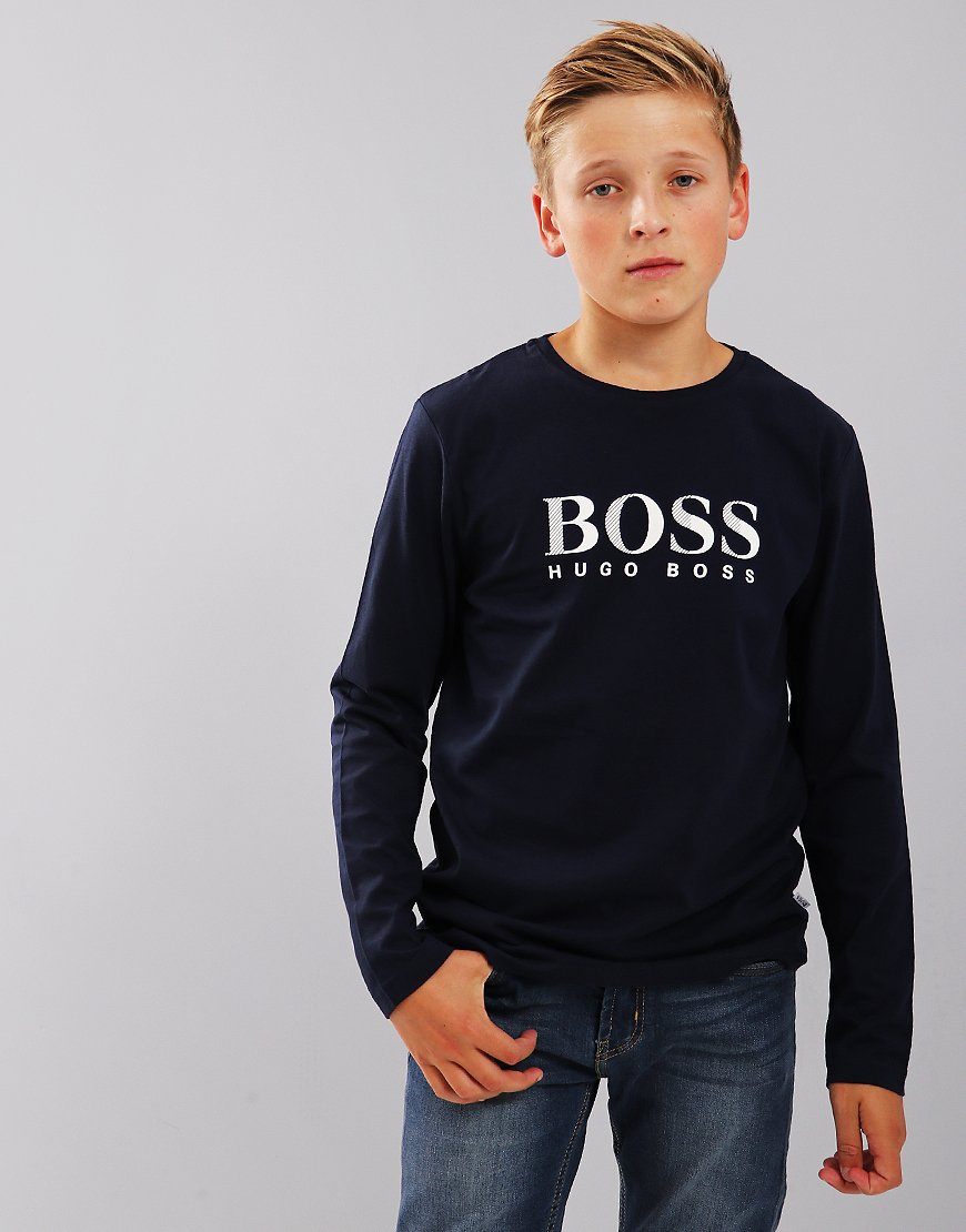 BOSS Kids Long Sleeve Print T-Shirt Navy