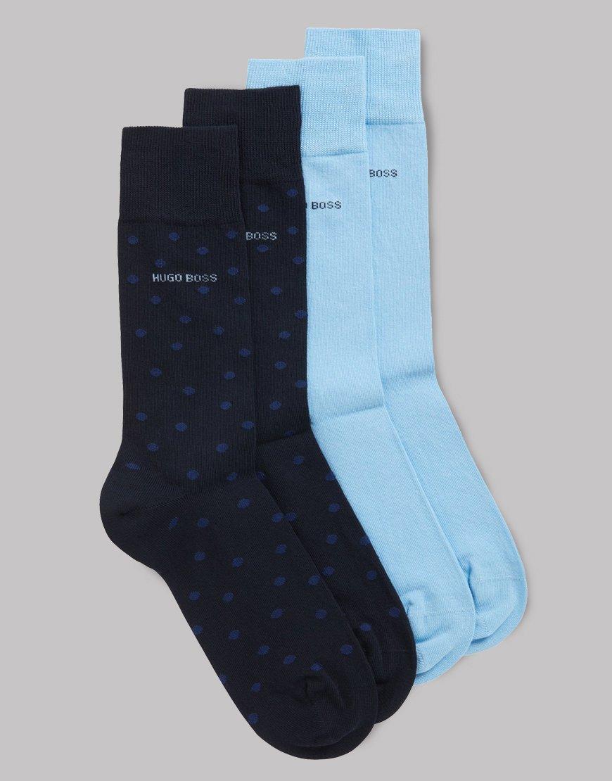 BOSS Two-pack Cotton Socks Dark Blue Polka