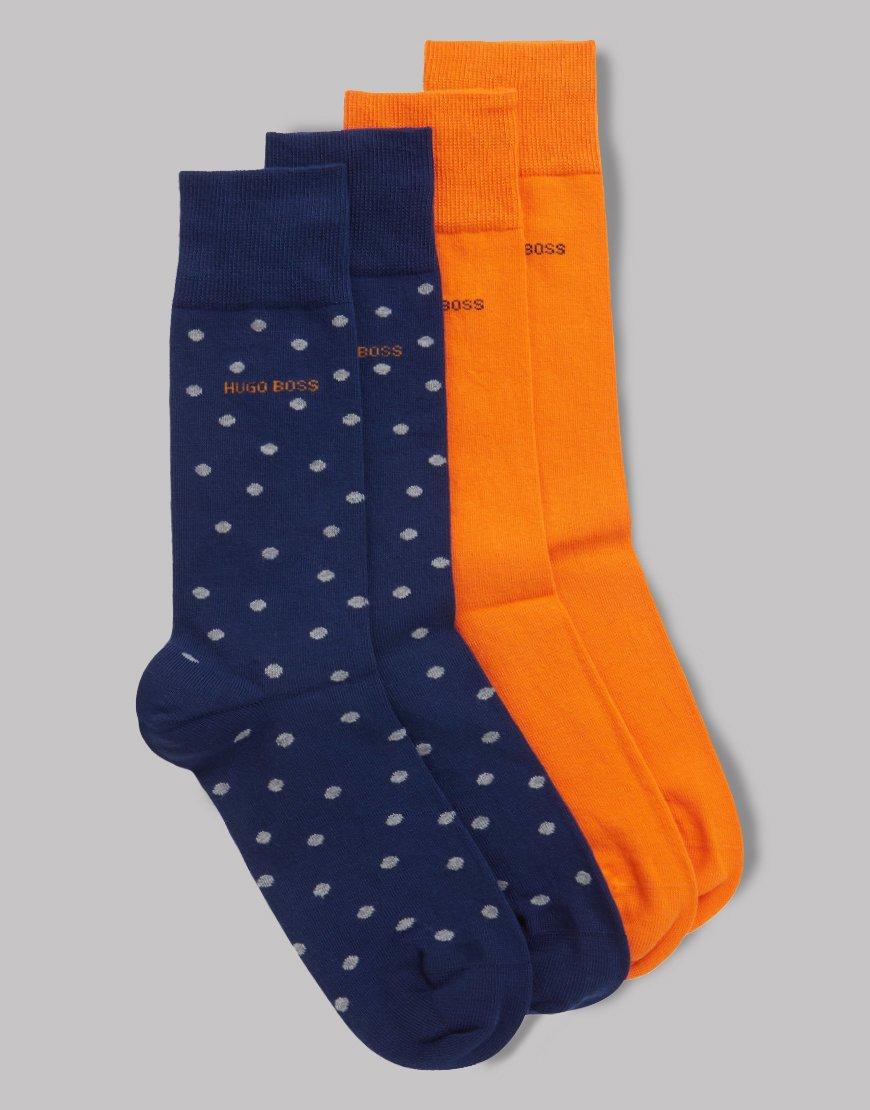BOSS Two-pack Cotton Socks Dark Blue Orange Polka
