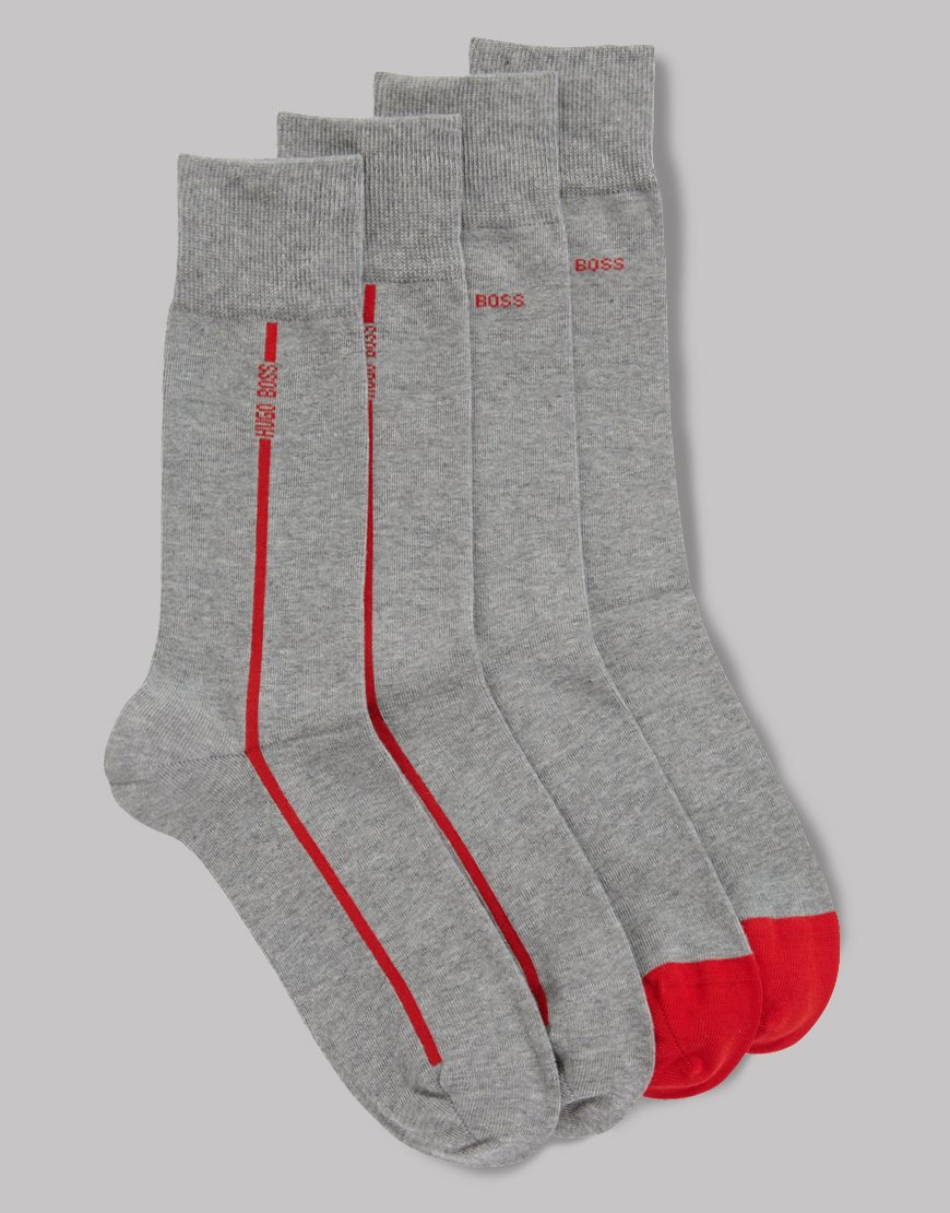 BOSS Two Pack RS Stretch Cotton Socks Silver