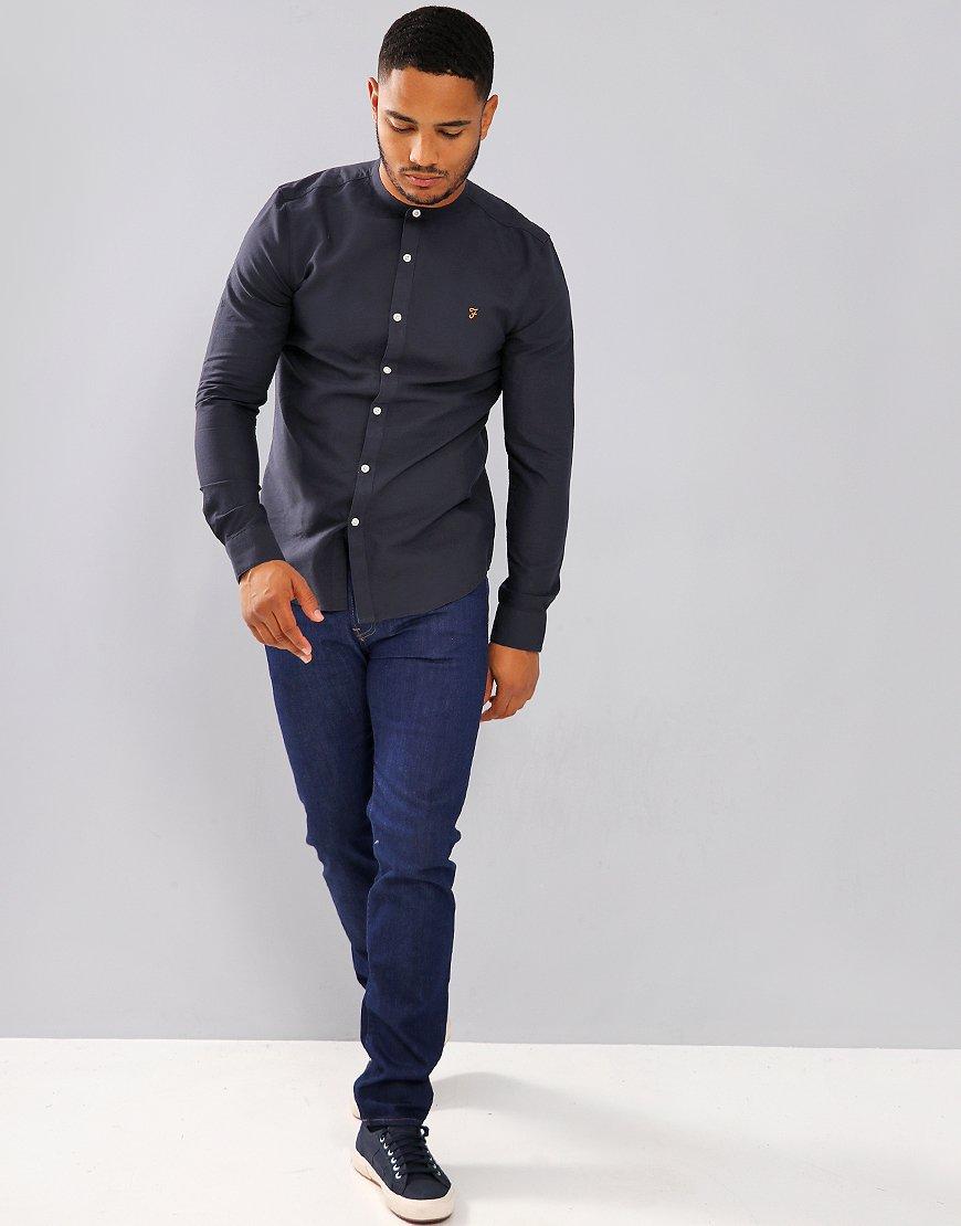 c970ca20 Farah Brewer Slim Grandad Shirt Navy - Terraces Menswear