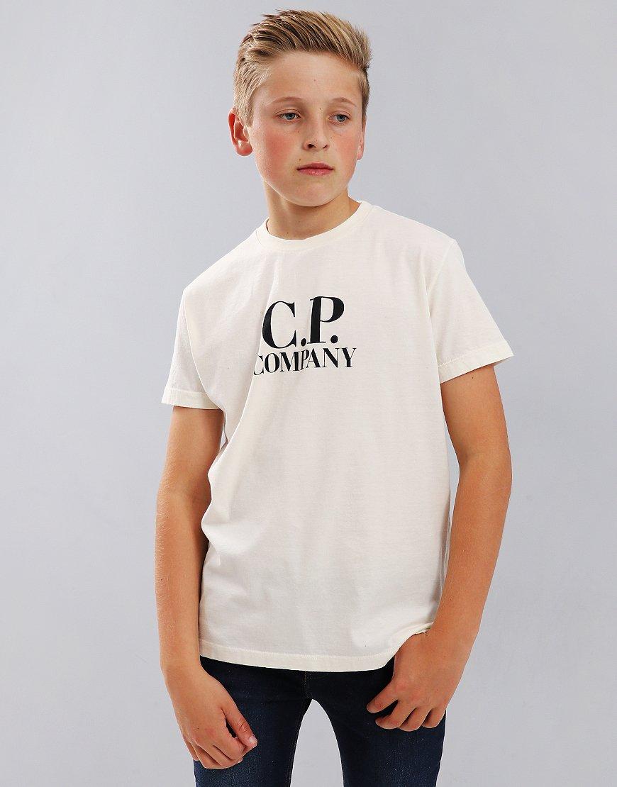 C.P. Company Kids Chest Logo T-Shirt With Hood Print Gauze White