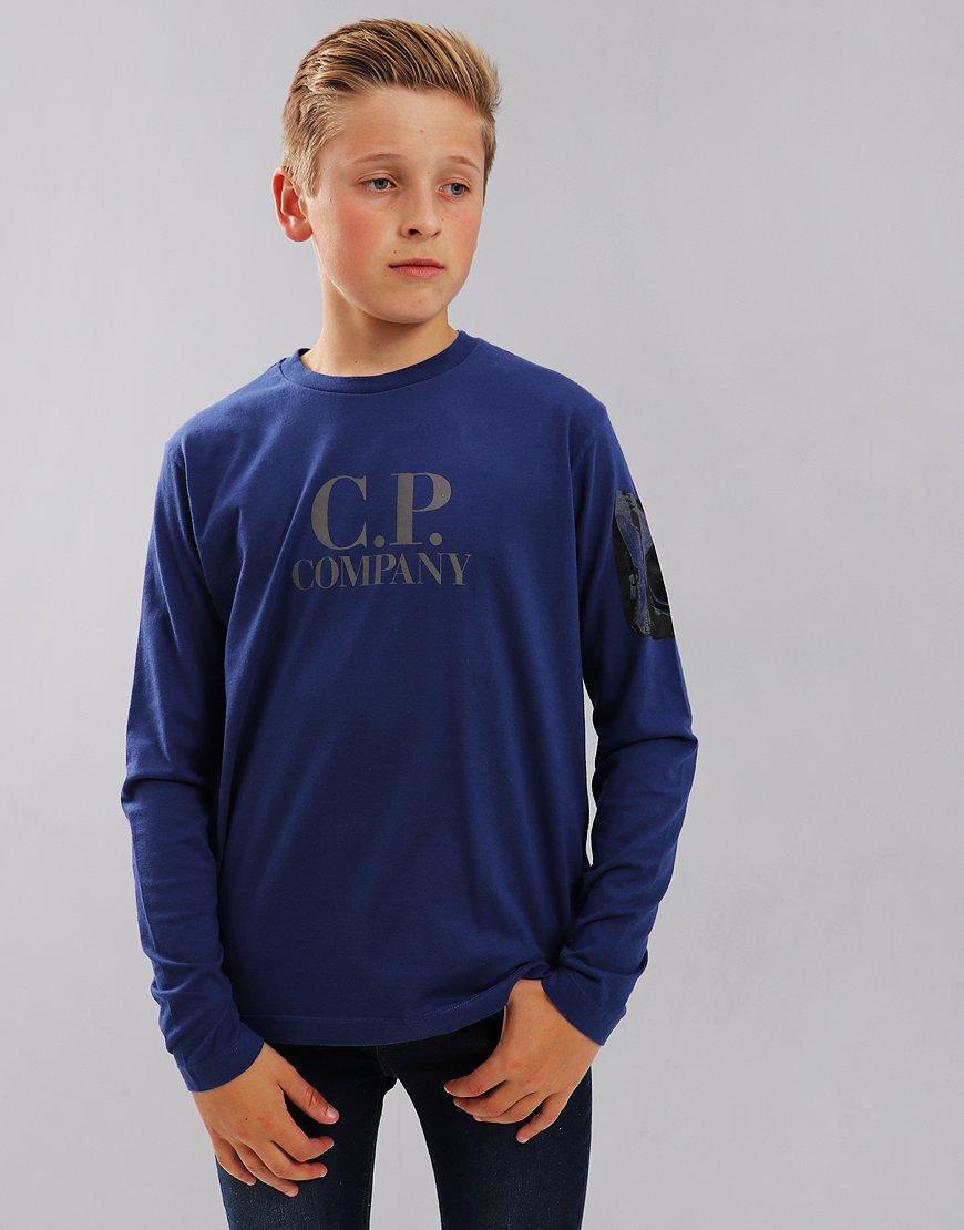 C.P. Company Kids Long Sleeve Lens Arm Logo T-Shirt Estate Blue