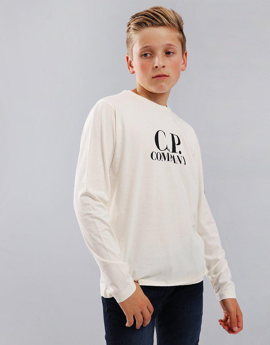 C.P. Company Kids Long Sleeve Lens Arm Logo T-Shirt Gauze White