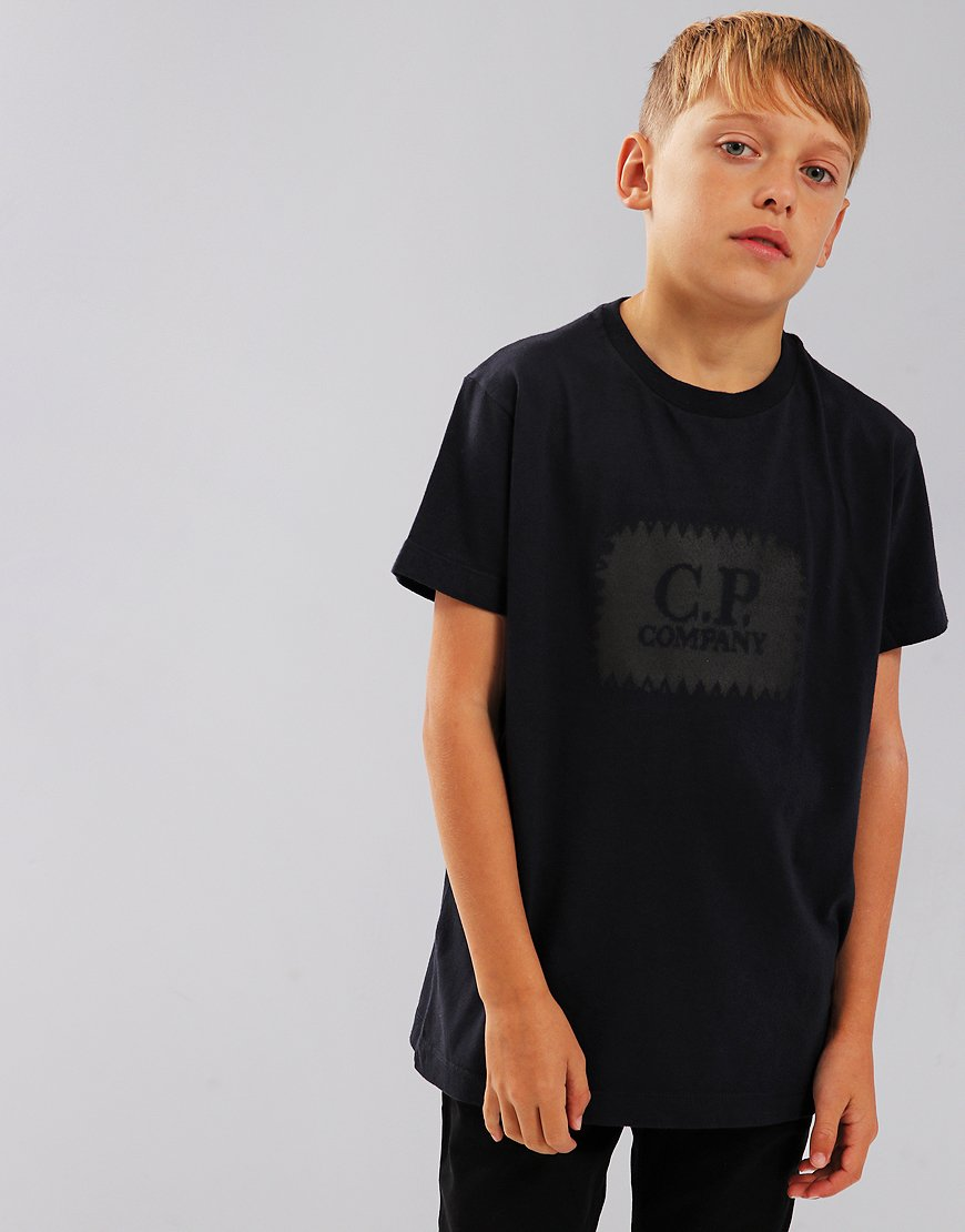 C.P. Company Kids Label Print T-Shirt Total Eclipse