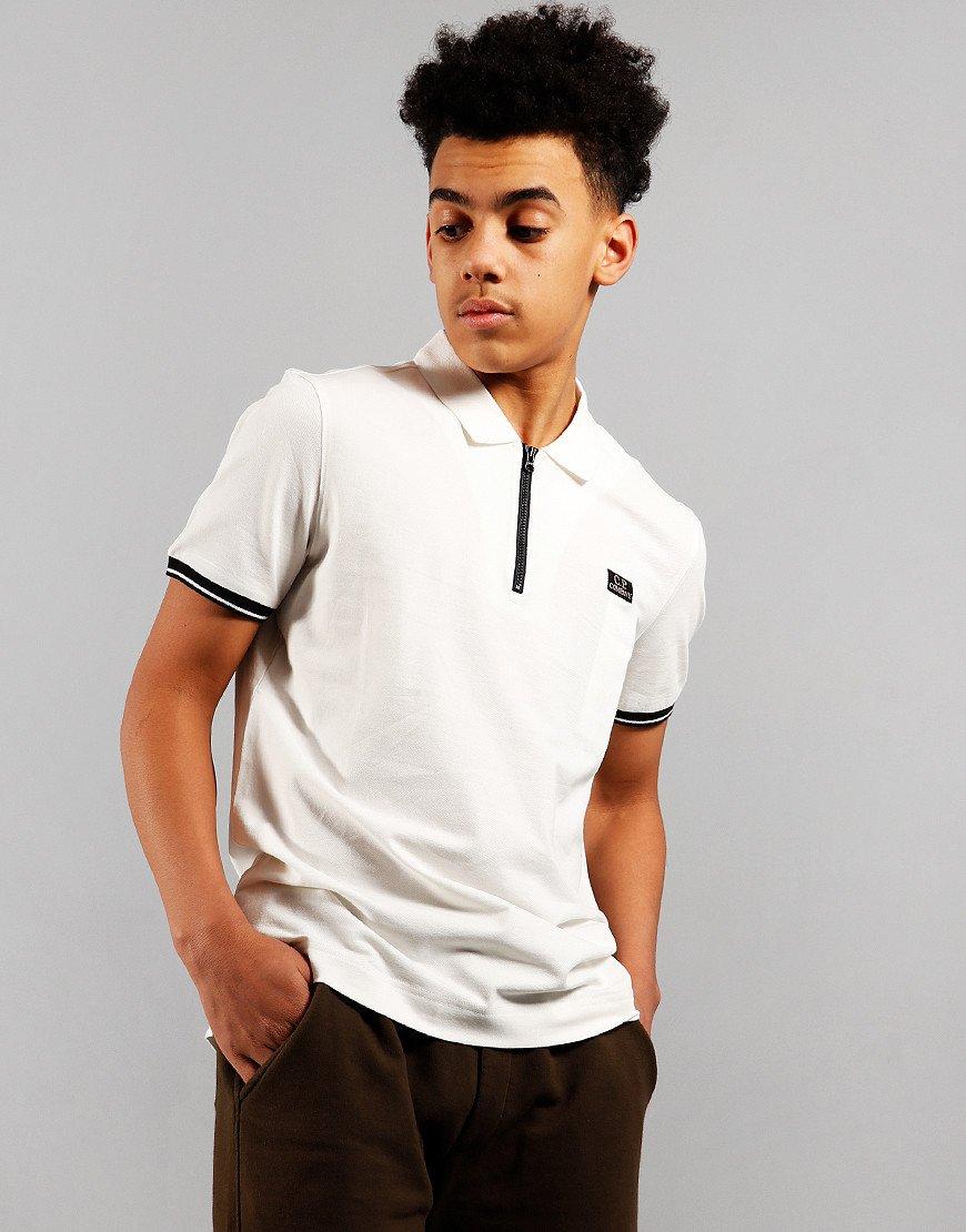 C.P. Company Kids Zip Polo Shirt Guaze White