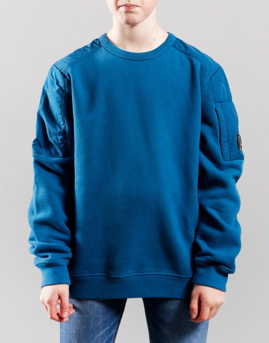 C.P. Company Kids Garment Dyed Basic Fleece Mixed Lens Sweat Saxony Blue