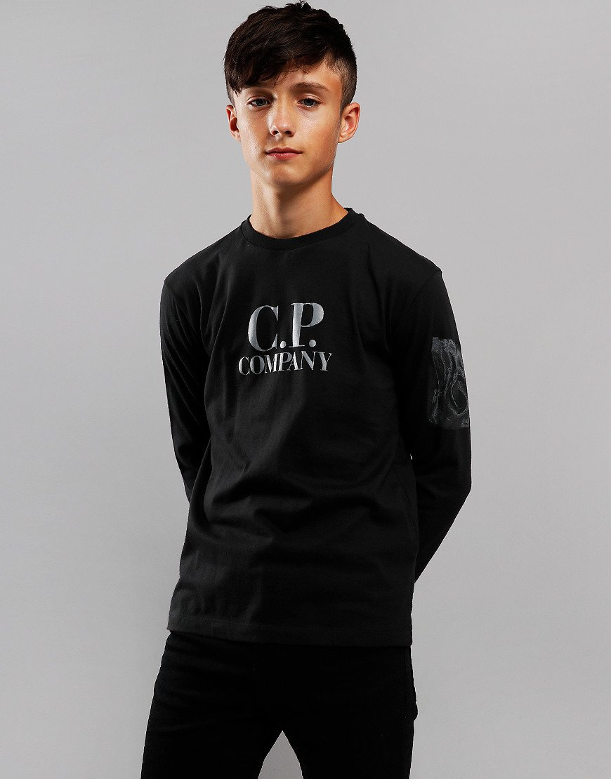 C.P. Company Kids Logo Print Long Sleeve T-Shirt Black
