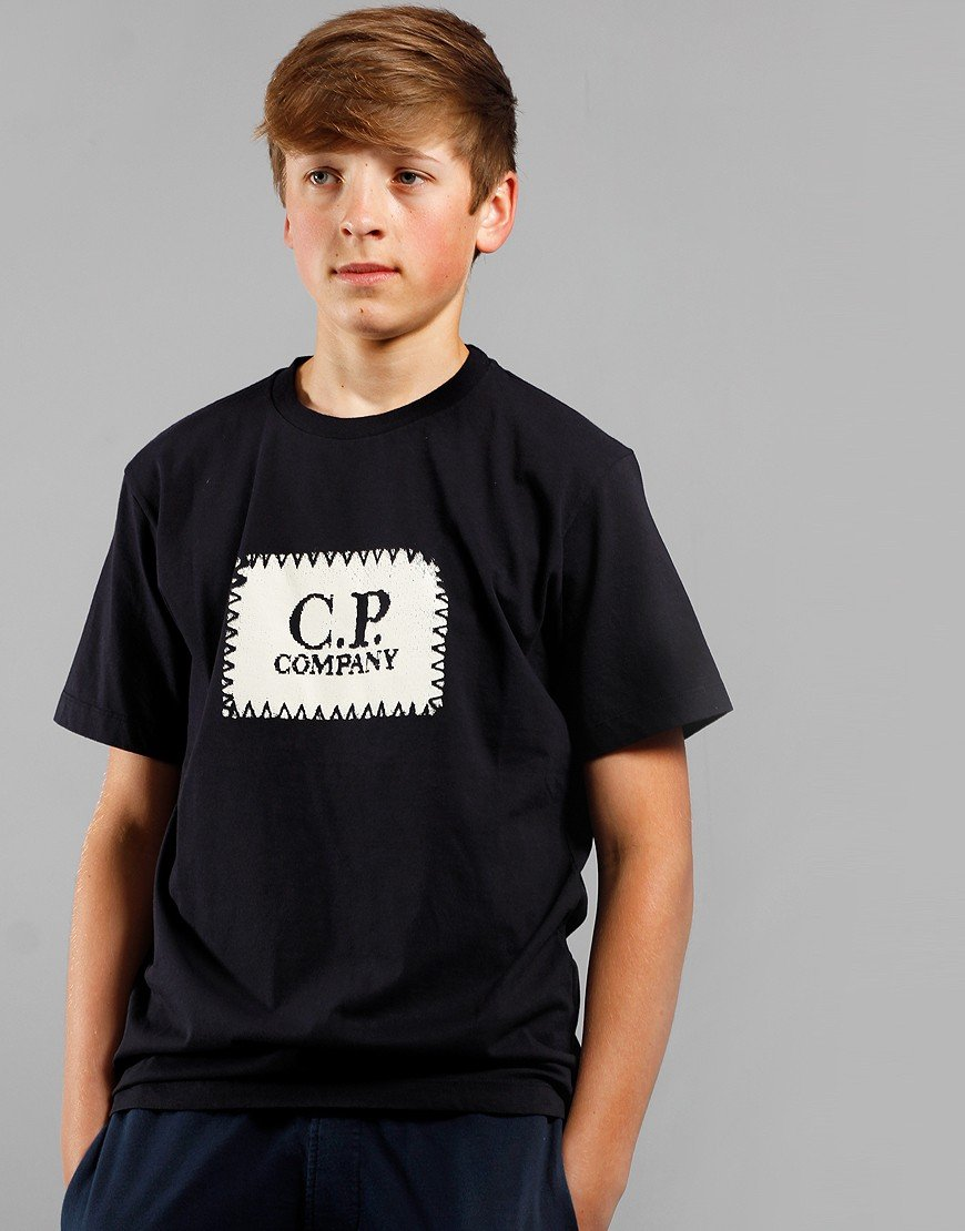 C.P. Company Kids Logo Patch T-Shirt Total Eclipse