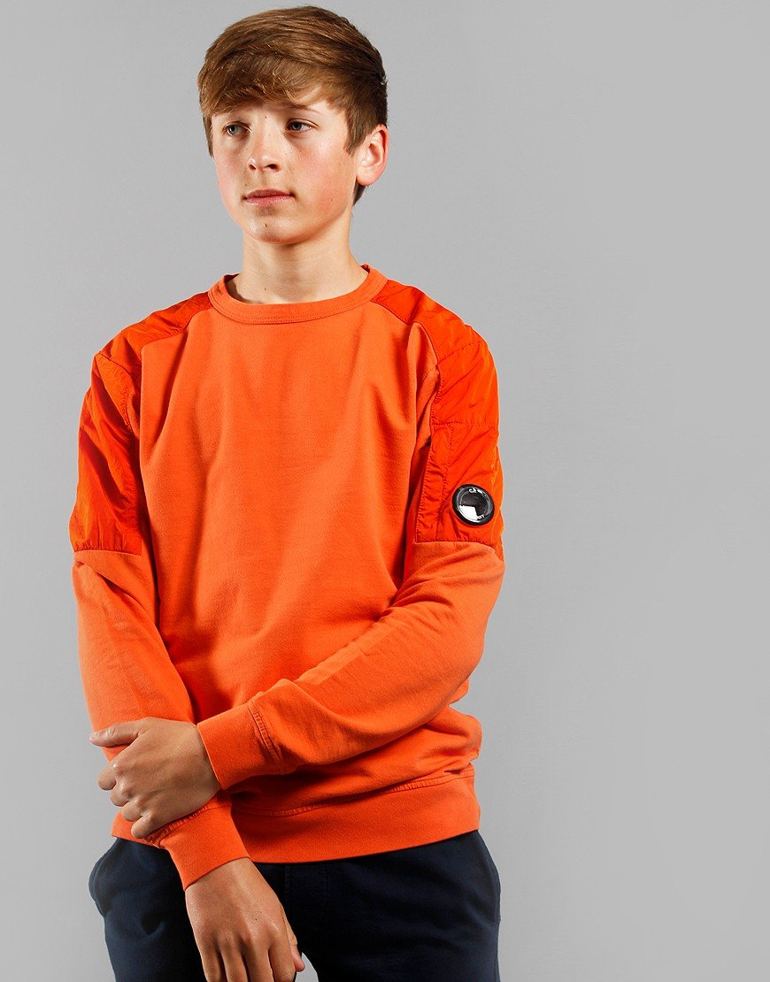 C.P. Company Kids Contrast Panel Lens Sweat Spicy Orange