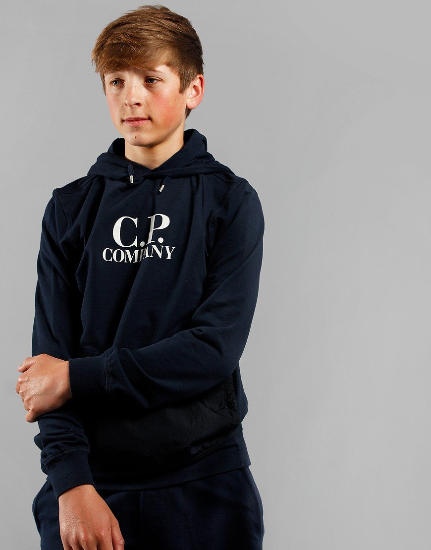 C.P. Company Kids Overhead Logo Hooded Sweat Total Eclipse