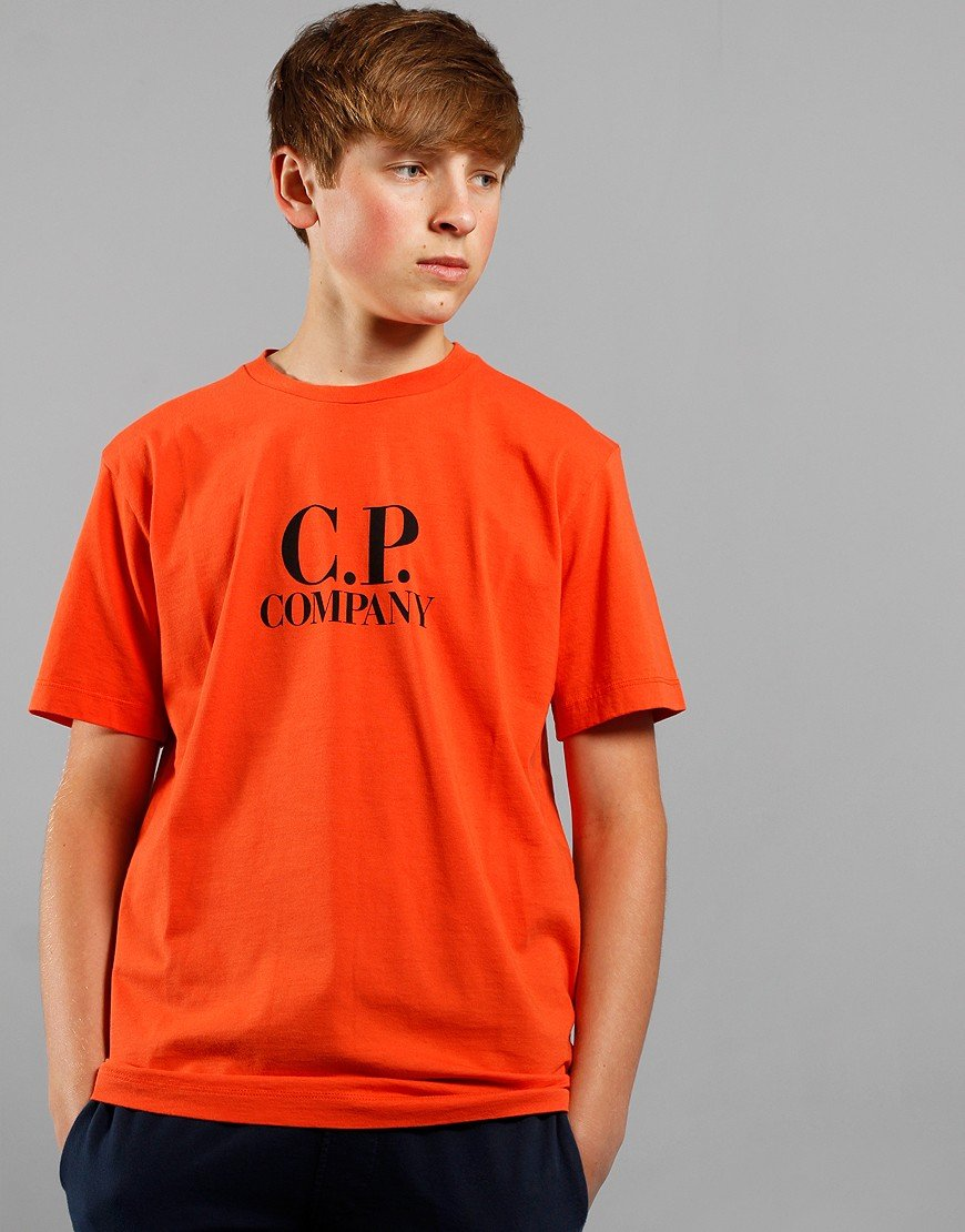 C.P. Company Kids Goggle Hood Print T-Shirt Spicy Orange
