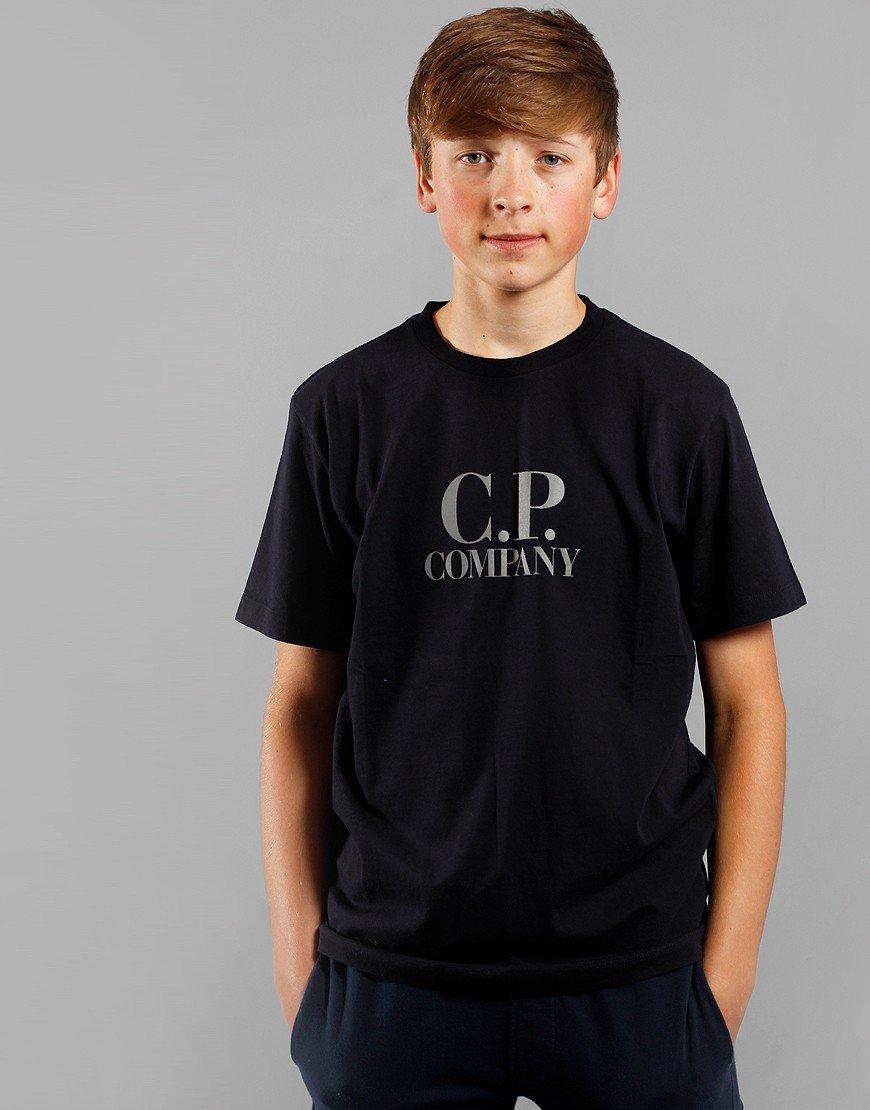 C.P. Company Kids Goggle Hood Print T-Shirt Total Eclipse