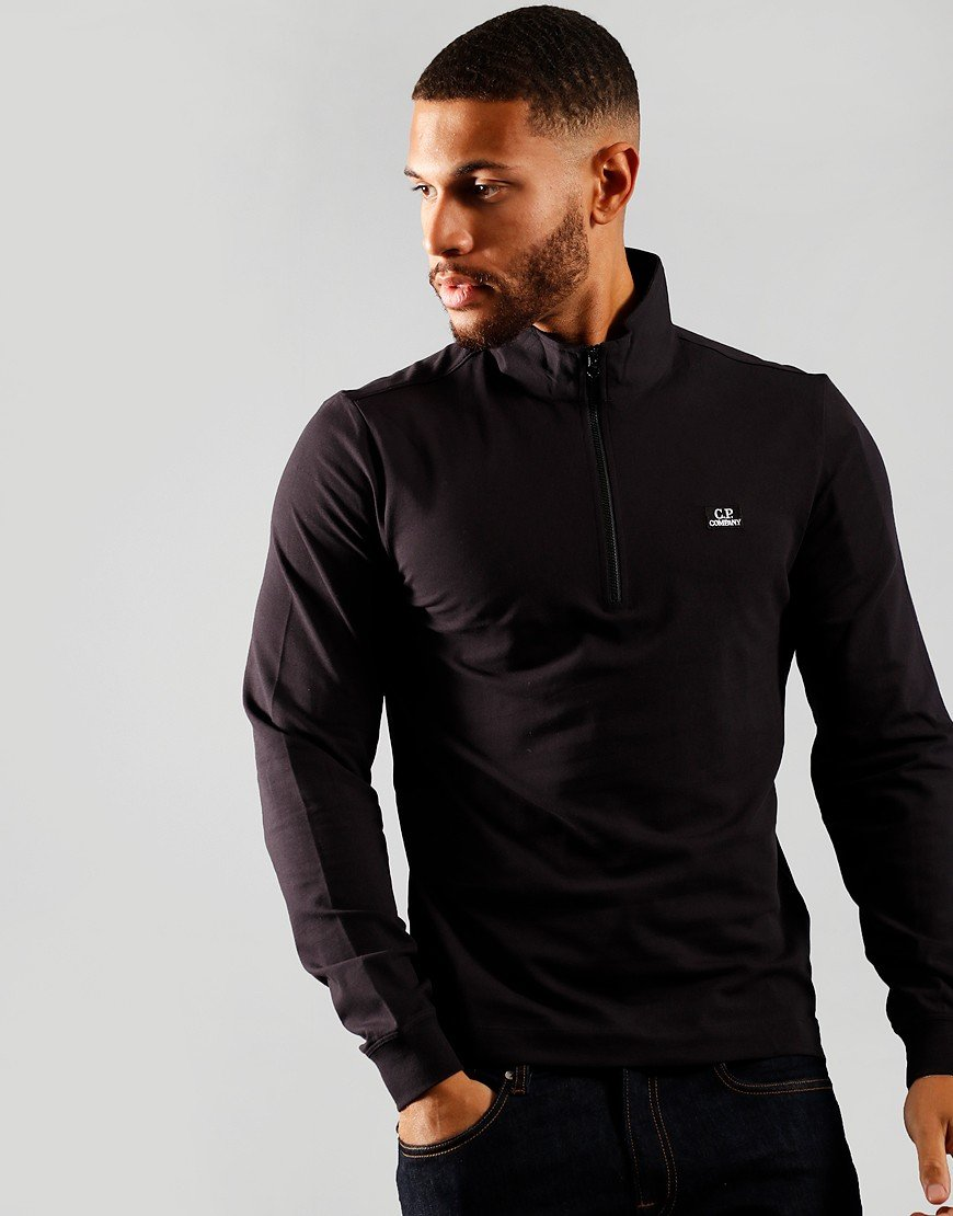 C.P. Company Long Sleeve Polo Shirt Black