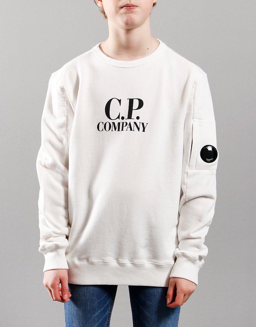 C.P. Company Kids Basic Fleece Logo Print Lens Sweat Gauze White