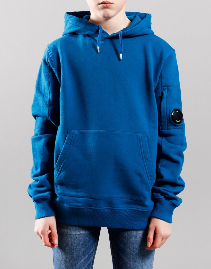 C.P. Company Kids Basic Fleece Pullover Lens Hoodie Lyons Blue
