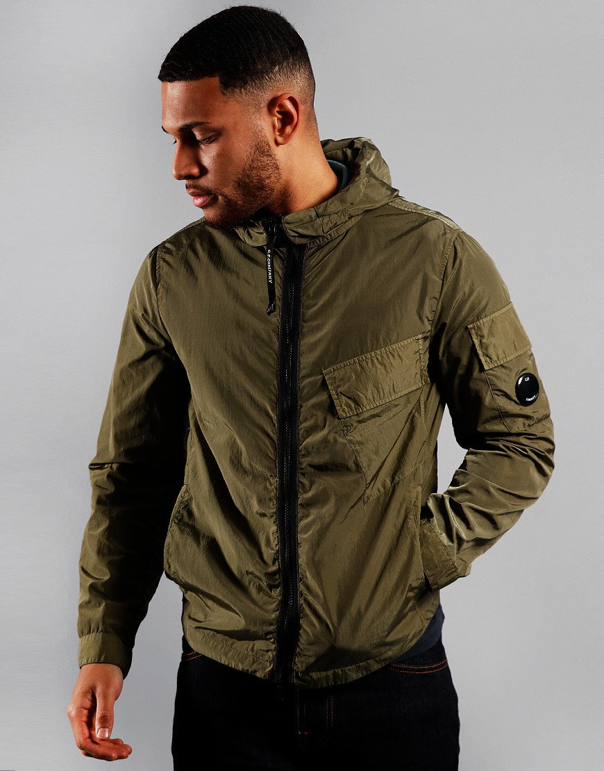 C.P. Company Arm Lens Hooded Zip Shirt Jacket Deep Lychen Green