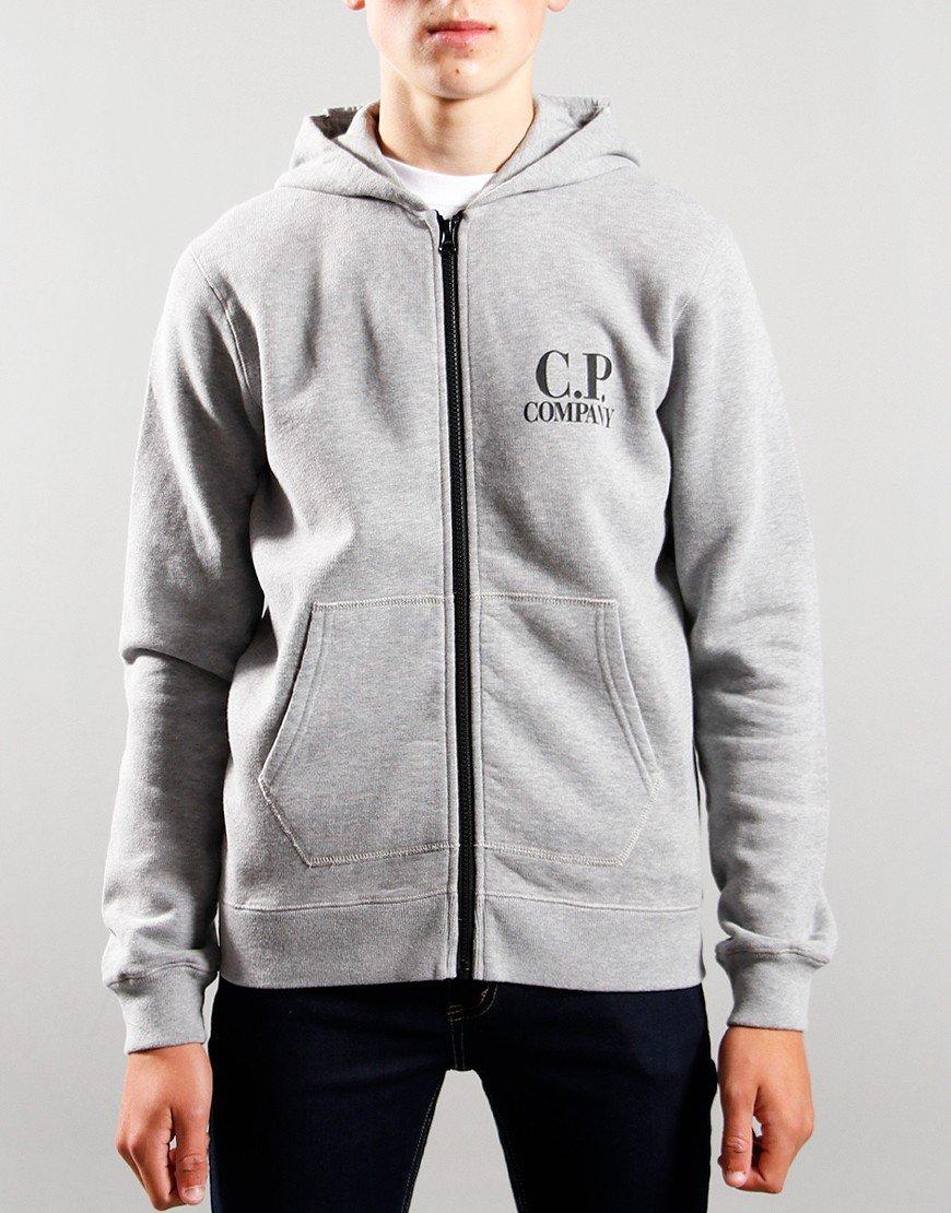 C.P. Company Kids Goggle Hooded Zip Up Hoodie Grey Melange
