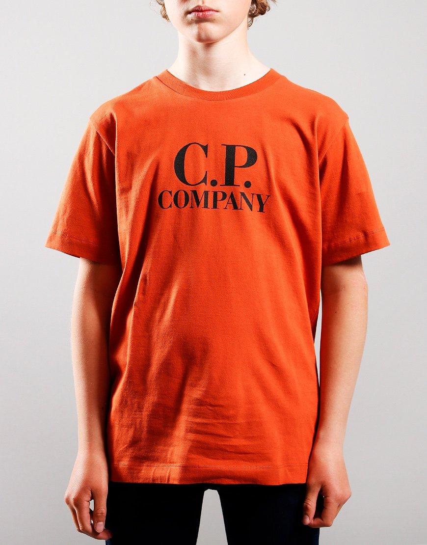C.P. Company Kids Chest Logo Hood Print T-Shirt Burnt Ochre