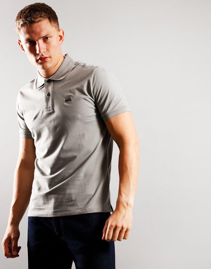 C.P. Company Stretch Pique Logo Badge Polo Shirt Moon Mist